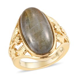 10 Ct Natural Bokonaky Fire Labradorite Solitaire Ring in Gold Plated Sterling Silver 5.60 Grams