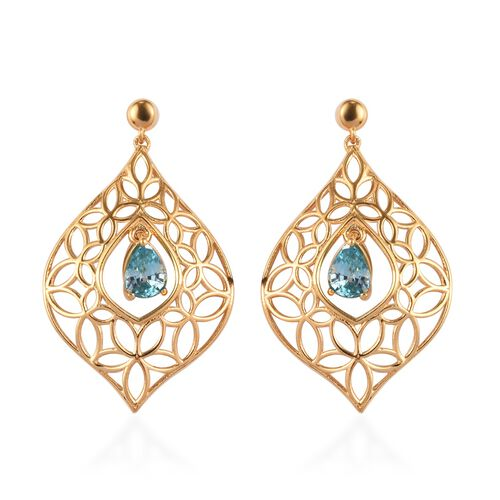 Ratanakiri Blue Zircon Dangle Earrings (with Push Back) in 14K Gold Overlay Sterling Silver 2.25 Ct.