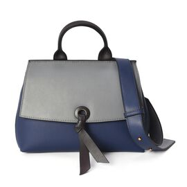 Limited Edition- 100% Genuine Leather Grey and Navy Colour Tote Bag with Detachable Shoulder Strap (