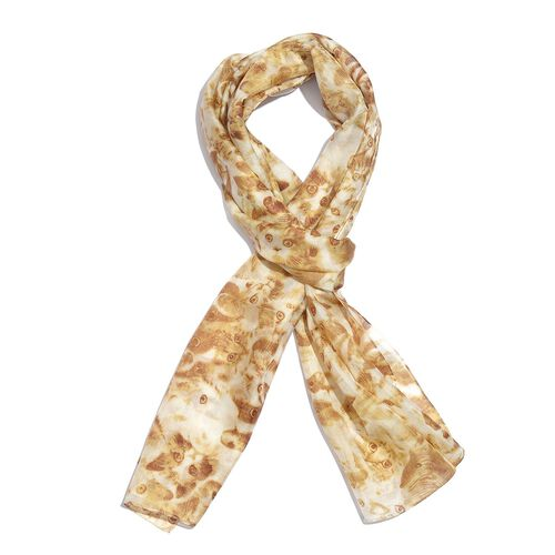 100% Mulberry Silk Golden and White Colour Handscreen Cat Face Printed Scarf (Size 180X50 Cm)