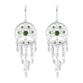 LucyQ Russian Diopside (Rnd), Natural Cambodian Zircon Dream Catcher Earrings (with Push Back) in Rh