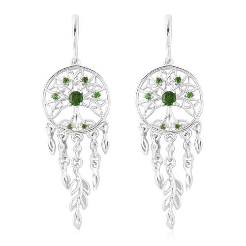LucyQ Russian Diopside and Zircon Dream Catcher Earrings in Rhodium Plated Silver 9.39 Grams
