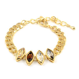 Crystal Bracelet (Size 7.5) in Yellow Gold Tone