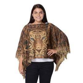Tiger Pattern Knitted Poncho with Tassels (Size 47x107+10 Cm) - Green and Brown