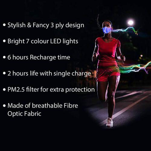Colour Changing Rechargeable LED Luminous Face Cover (Size 15x21x3 Cm) - Black