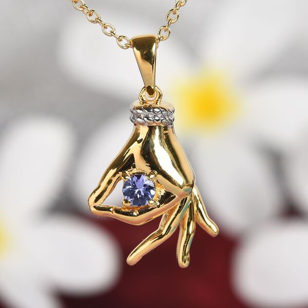 AA Tanzanite Mudra Hand Pendant With Chain (Size 20) in Yellow Gold and Platinum Overlay Sterling Silver 0.25 Ct, Silver wt. 8.20 Gms