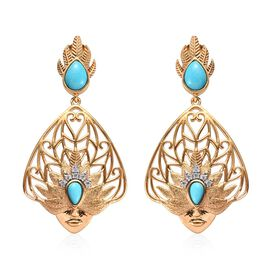 1.79 Ct Arizona Sleeping Beauty Turquoise and Zircon Dangle Earrings in Gold Plated Sterling Silver