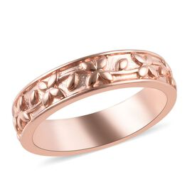 Rose Gold Overlay Sterling Silver Engraved Band Ring