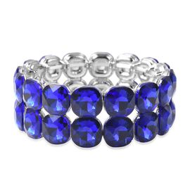 Simulated Blue Sapphire (Cush 12 mm) Stretchable Bracelet (Size 6.5) in Silver Plated