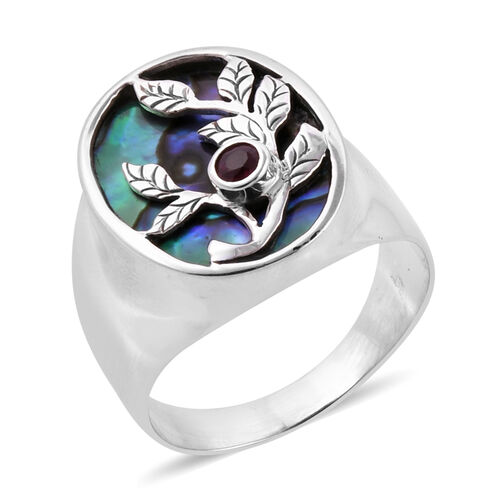 Royal Bali Collection Abalone Shell and African Ruby Leafs Ring in Sterling Silver, Silver wt 6.70 Gms.
