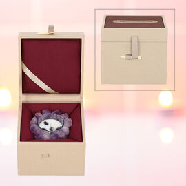 The 5th Season Amethyst Quartz Candle with Wooden Gift Box in Purple (Fragrance : French Vanilla)