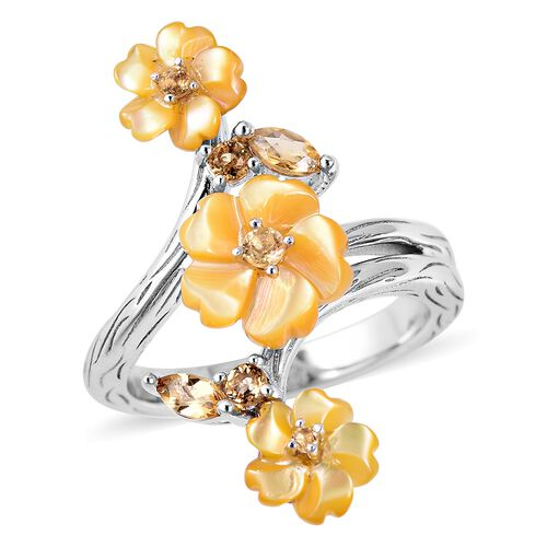 Yellow Mother of Pearl and Brazilian Citrine Floral Ring in Sterling Silver