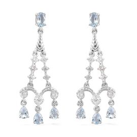 Santa Teresa Aquamarine and Natural Cambodian Zircon Dangling Earrings (with Push Back) in Platinum