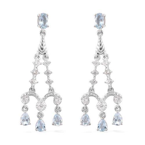Santa Teresa Aquamarine and Natural Cambodian Zircon Dangling Earrings (with Push Back) in Platinum