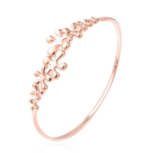 LucyQ Splash Collection - Rose Gold Overlay Sterling Silver Bangle (Size 7.5)