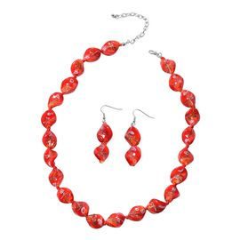 2 Piece Set - Red Colour Murano Glass Beads Necklace (Size 20 with 3 inch Extender) and Hook Earring