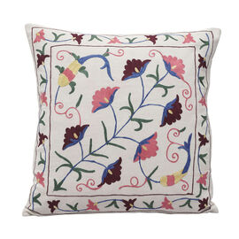 Assots London Hand Made 100% Cotton Embroidered Cushion Cover (Size 45x45cm) - Pink & Wine
