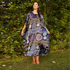 Winlar Multi Colour Floral and Waves Pattern Long Kaftan (One Size)
