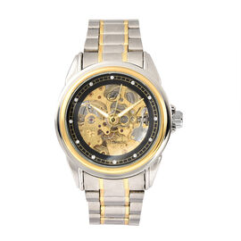 GENOA Automatic Mechanical Movement Skeleton White Dial Water Resistant Watch with Chain Strap in Du