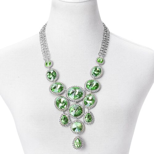 Simulated Diopside BIB Necklace (Size 22 with 2 inch Extender) in Silver Tone