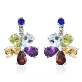 Mozambique Garnet, Sky Blue Topaz and Multi Gemstone Enameled Flower Earrings (with Push Back) in Sterling Silver 4.500 Ct.