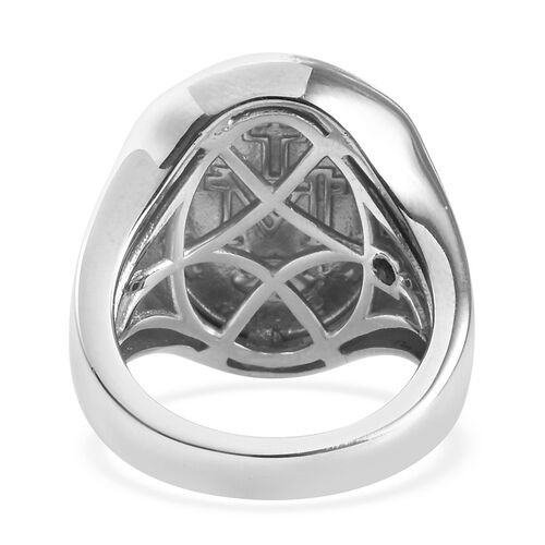 GP - Blue Sapphire Madonna Ring in Platinum Overlay Sterling Silver, Silver wt 9.50 Gms