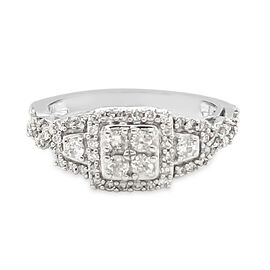 NY Close Out 14K White Gold Diamond (I1/I2 G-H) Ring 0.65 Ct. Size N