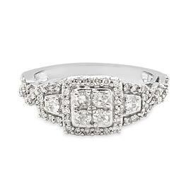 NY Close Out 14K White Gold Diamond (I1/I2 G-H) Ring 0.65 Ct. Size N