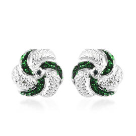 Green Diamond Swirl Design Stud Earrings (with Push Back) in Sterling Silver