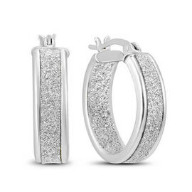 NY Close Out Deal- Stardust Hoop Earrings in Sterling Silver