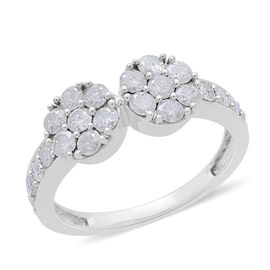 9K White Gold SGL Certified Diamond (Rnd) (I3 G-H) Twin Floral Ring 1.000 Ct.