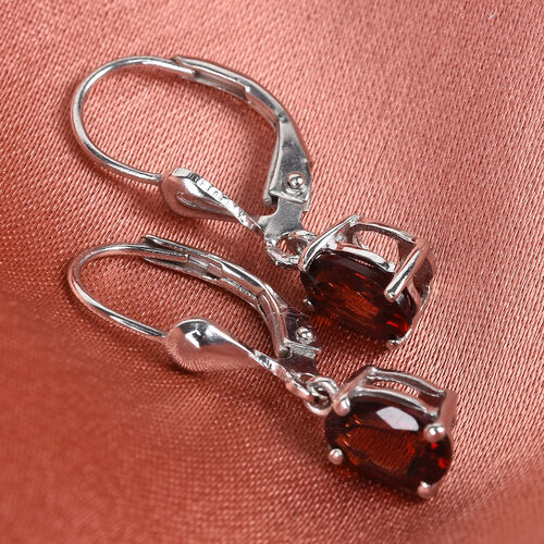 Mozambique Garnet Lever Back Earrings in Platinum Overlay Sterling Silver 2.00 ct.
