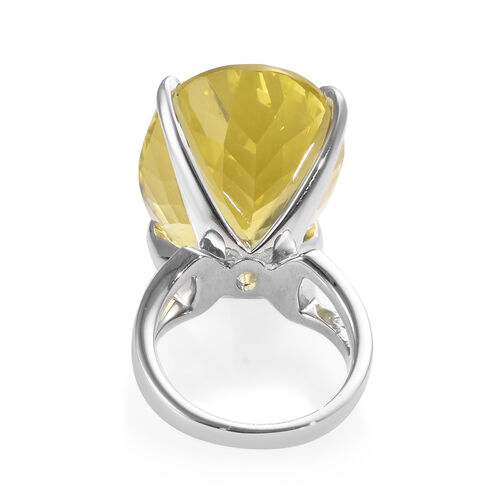 Natural Ouro Verde Quartz (Ovl) Ring in Platinum Overlay Sterling Silver 37.00 Ct., Silver wt 8.00 Gms