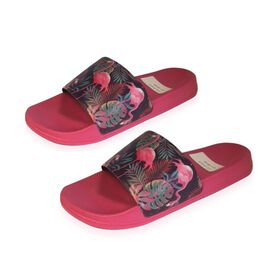 Flamingo and Floral Print Slider Sandals Pink, Purple and Multi Colour (EU 36/ UK 4)