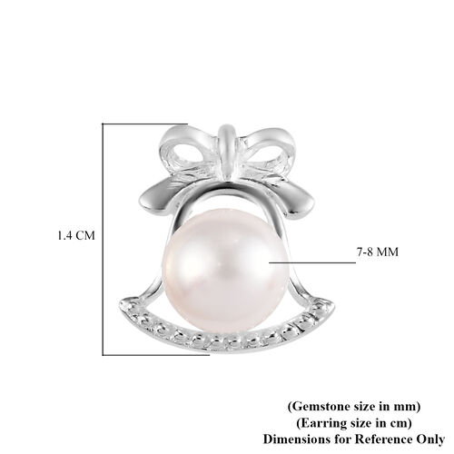 Freshwter Pearl Bell Stud Earrings in Sterling Silver