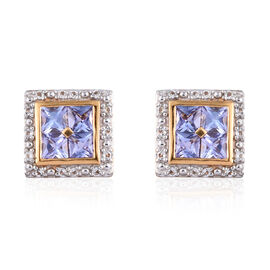 Tanzanite (Sqr), White Topaz Earrings in 14K Gold Overlay Sterling Silver 1.250 Ct.