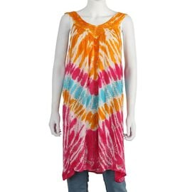 Tie-Dye Embroidered V Neck Summer Dress (One Size; L=90 Cm) - Orange and Fuchsia
