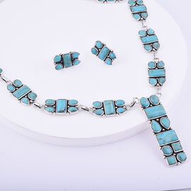 Super Find- Santa Fe Collection - 2 Piece Set Artisan Crafted Turquoise Necklace (Size 18-20) and Earrings (with Push Back) in Rhodium Overlay Sterling Silver 51.00 Ct, Silver wt. 29.80