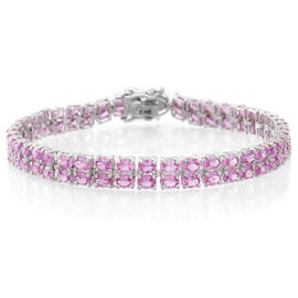 Limited Available - Pink Sapphire (Ovl), Natural White Cambodian Zircon Bracelet (Size 7.5) in Sterling Silver 16.750 Ct, Silver wt. 10.50 Gms.