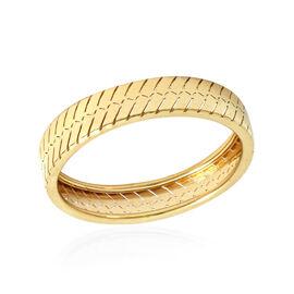 Italian Made - 9K Yellow Gold Herringbone Band Ring