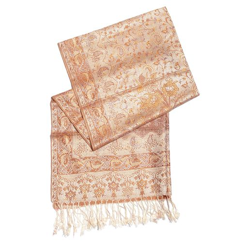 SILK MARK - 100% Superfine Silk Peach and Multi Colour Floral Pattern Jacquard Jamawar Scarf with Tassels (Size 185X70 Cm) (Weight 125 to 140 Gms)