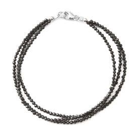 Boi Ploi Black Spinel (Rnd) Beads Bracelet (Size 7.5) in Rhodium Overlay Sterling Silver  22.000 Ct.