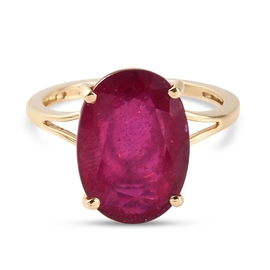 Monster Deal - 9K Yellow Gold African Ruby (FF)  Solitaire Ring 8.50 Ct.