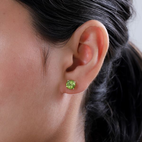 Hebei Peridot (Rnd) Stud Earrings (with Push Back) in 14K Gold Overlay Sterling Silver 2.87 Ct.