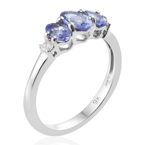 9K White Gold AA Tanzanite (Ovl), Diamond Trilogy Ring