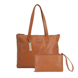 100% Genuine Leather Tan Tote Bag and RFID Wrislet with Zipper Closure