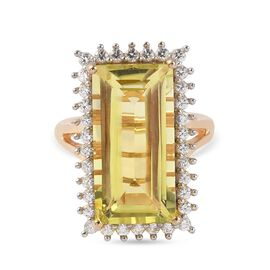 Natural Green Gold Quartz (Bag 20x10mm), Natural Cambodian Zircon Ring in 14K Gold Overlay Sterling