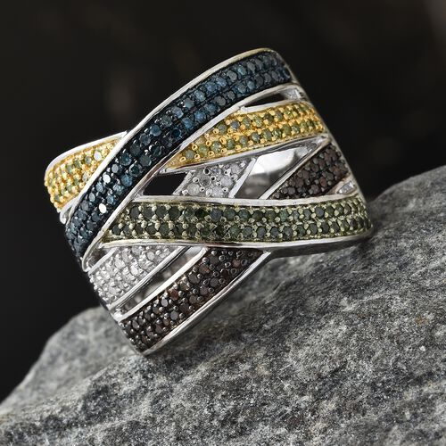 Multi Colour Diamond (Rnd) Criss Cross Ring in Platinum, Blue, Grren, Yellow and Black Overlay Sterling Silver 1.000 Ct. Silver wt 9.20 Gms. Number of Diamonds 183