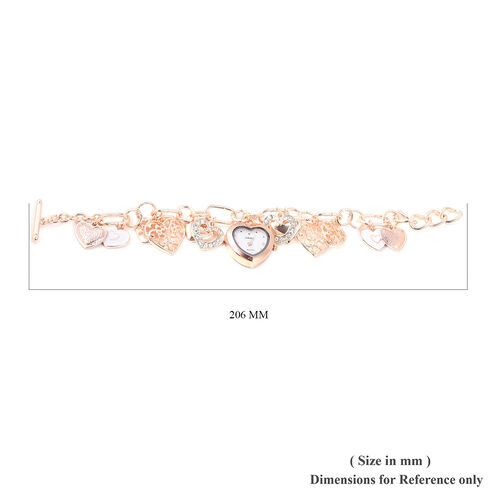 STRADA Japanese Movement White Austrian Crystal Studded Water Resistant Multi Heart Charm Enamelled Bracelet Watch (Size 7.5-9) in Rose Gold Tone with Toggle Clasp