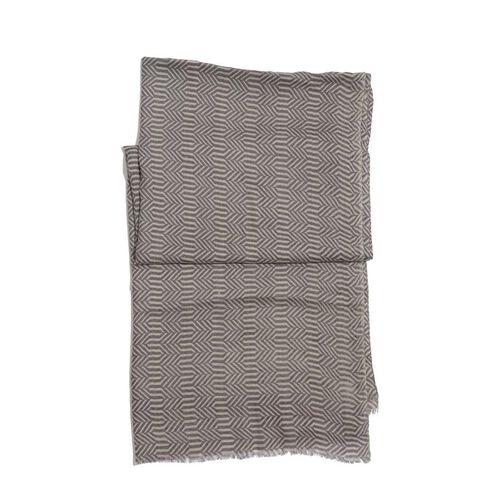 75% Silk and 25% Australian Merino Wool Cream and Chocolate Colour Woven Scarf (Size 180x70 Cm)